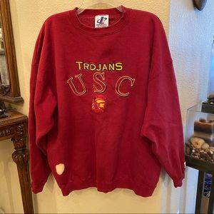 Vintage USC Trojans Red Embroidered Sweatshirt-XL